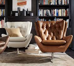 Swivel Armchairs For Living Room Wells Leather Swivel Armchair Pottery Barn