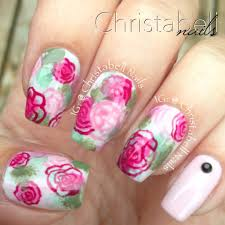 christabellnails floral sponge watercolor nails tutorial youtube