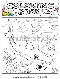 hammerhead shark coloring book pages sea stock vector 473845327