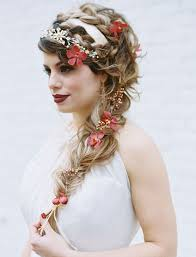 flower hair terrific side braid hair style for brides weddceremony