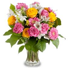 pink and roses pink and yellow roses colourful bouquet floraqueen