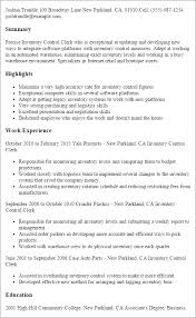 Resume Examples Warehouse by Professional Inventory Control Clerk Templates To Showcase Your