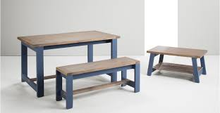 Wood Dining Table With Bench And Chairs Bala Table And Bench Set Solid Wood And Blue Made Com
