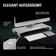 Schreibtisch F Computer Und Drucker Sharkoon Aluminium Monitor Stand Silber Amazon De Computer U0026 Zubehör