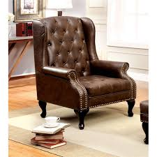 Tufted Accent Chair Furniture Of America Ardell Faux Leather Tufted Accent Chair In