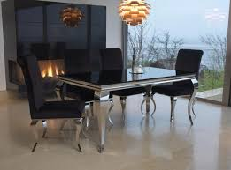 6 Black Dining Chairs Buy Vida Living Louis Black Glass Top Dining Set With 6 Chairs
