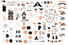 halloween graphic art cute halloween graphic kit by olga angelloz thehungryjpeg com