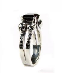 Skull Wedding Rings by Skull Ring Skull Engagement Ring Black Diamond Ring Blood Red