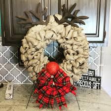 burlap reindeer wreath christmas wreath rudolph wreath