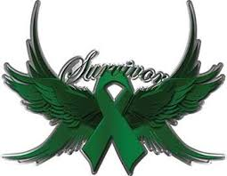 emerald green ribbon liver cancer survivor emerald green ribbon with flying wings decal