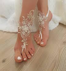 barefoot sandals wedding ivory gold frame pearl beaded wedding barefoot sandals