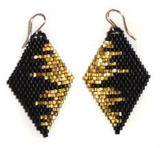 Handmade Seed Beaded Gold Plated Diamond Drop Earrings Black Gold Cityscape Brickstitch U2026seed