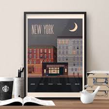 Dunder Mifflin Floor Plan by Friends Tv Show Themed New York Travel Poster Vintage Style
