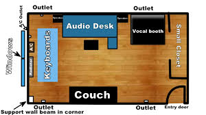 new home studio desk booth placements floor plans attached