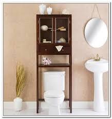 Bathroom Storage Behind Toilet Bathroom White Bathroom With Tall Iron Over Toilet Storage And