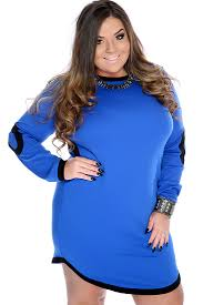 royal blue black two tone long sleeve plus size casual dress