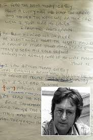 biography of john lennon in the beatles lyrics to a day in the life john lennon sold for 1 2m at auction