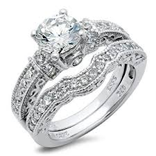 engagement and wedding ring set sterling silver cubic zirconia cz wedding engagement