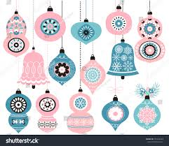 hanging vector ornaments pink blue stock vector