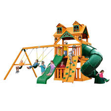 gorilla playsets chateau tower with amber posts cedar swing set 01