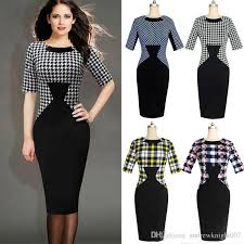 new women elegant vintage houndstooth colorblock tunic wear to