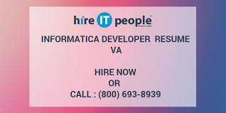 Sample Informatica Etl Developer Resume by Informatica Developer Resume Va Hire It People We Get It Done