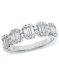 Zales Wedding Rings by Zales 3 4 Ct T W Baguette And Round Diamond Band In 14k White