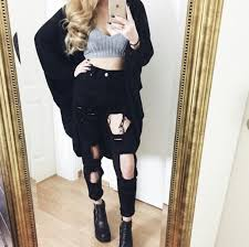 Black Skinny Jeans With Holes Black Skinny Ripped Hole High Waist Jeans