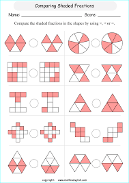 compare fractions in shapes figures in terms of bigger smaller or