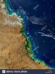 australia satellite map satellite view of the great barrier reef australia stock photo