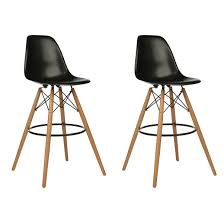 30 Inch Bar Stool Set Of 2 Eames Style Dsw Black Plastic 30 Inch Bar Stool With Wood