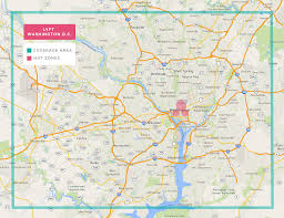 Washington Dc Maps Washington Dc Lyft Coverage Map Rideshareapps Com