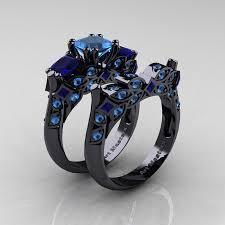 black gold wedding sets designer classic 14k black gold three princess blue topaz