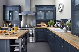 blue kitchen cabinets with wood countertops blue kitchen cabinets eye catching designs in a variety of