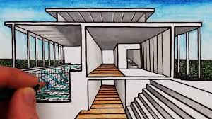 how to draw a house in 1 point perspective sectional perspective