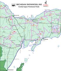 up michigan map michigan snowmobiling central peninsula snowmobile trail
