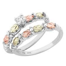 silver wedding ring sets tri color black gold on silver wedding set w cz
