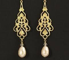 gold bridal earrings chandelier big gold pearl earrings weddingbee