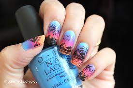nail art sunrise on the beach inspired nail design 26gnai