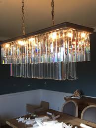 Rectangular Chandelier With Crystals Am6060 1920 U0027s Style Art Deco Crystal Glass Fringe Rectangular