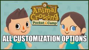 animal crossing pocket camp all customization options villager boy