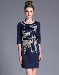 adorewe ouyalin black embroidery long sleeve round neck shift
