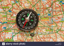 Map With Compass Compass Over The Map Of Uk London Suburbs Stock Photo Royalty