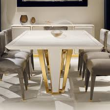 gold dining table set contemporary gold plated ivory dining table set