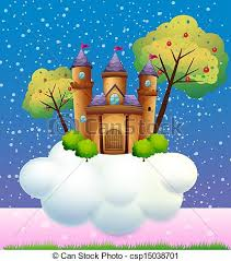 vector clipart of a castle on a cloud illustration of a castle