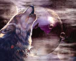 wolf howling at the moon digital by johnnie