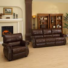 Leather Sofa And Armchair Abbyson Lorenzo Dark Burgundy Italian Leather Chair And Sofa Set