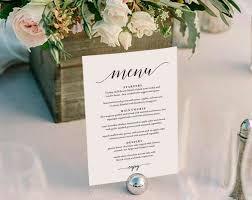 wedding menu template wedding menu printable wedding menu