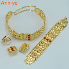 wedding gift jewellery anniyo big size set jewelry gold color wedding