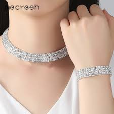 rhinestone necklace bracelet images Mecresh crystal bridal jewelry sets silver color rhinestone jpg